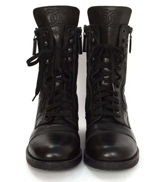 chanel knee high boots. chanel black leather lace up combat boots sz 39 2 knee high