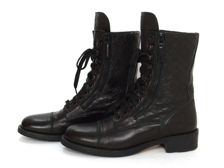 Women's Chanel Black Leather Lace Up Combat Boots sz 39 For Sale