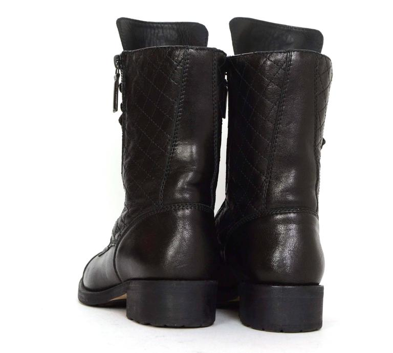 Chanel Black Leather Lace Up Combat Boots sz 39 For Sale 1