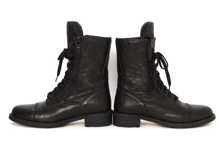 Chanel Black Leather Lace Up Combat Boots sz 39 For Sale 2