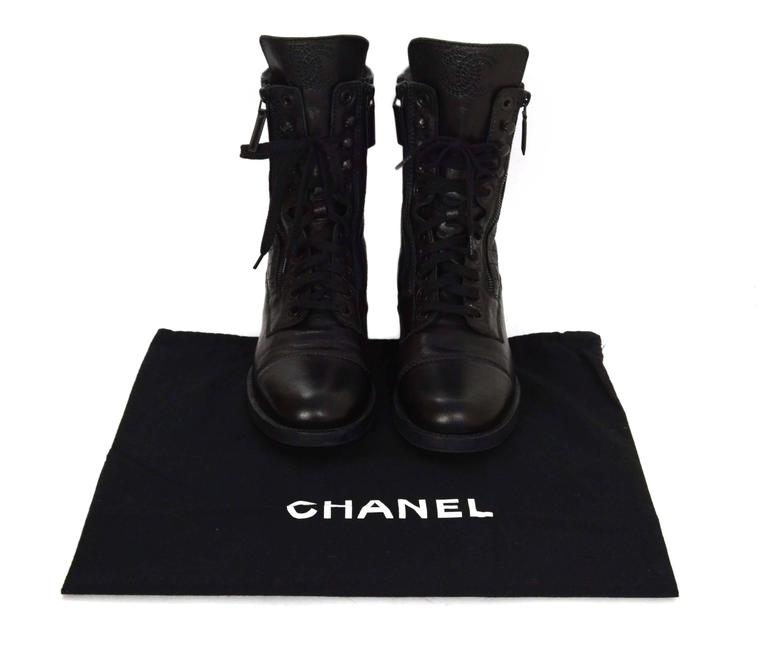 Chanel Black Leather Lace Up Combat Boots sz 39 For Sale 4