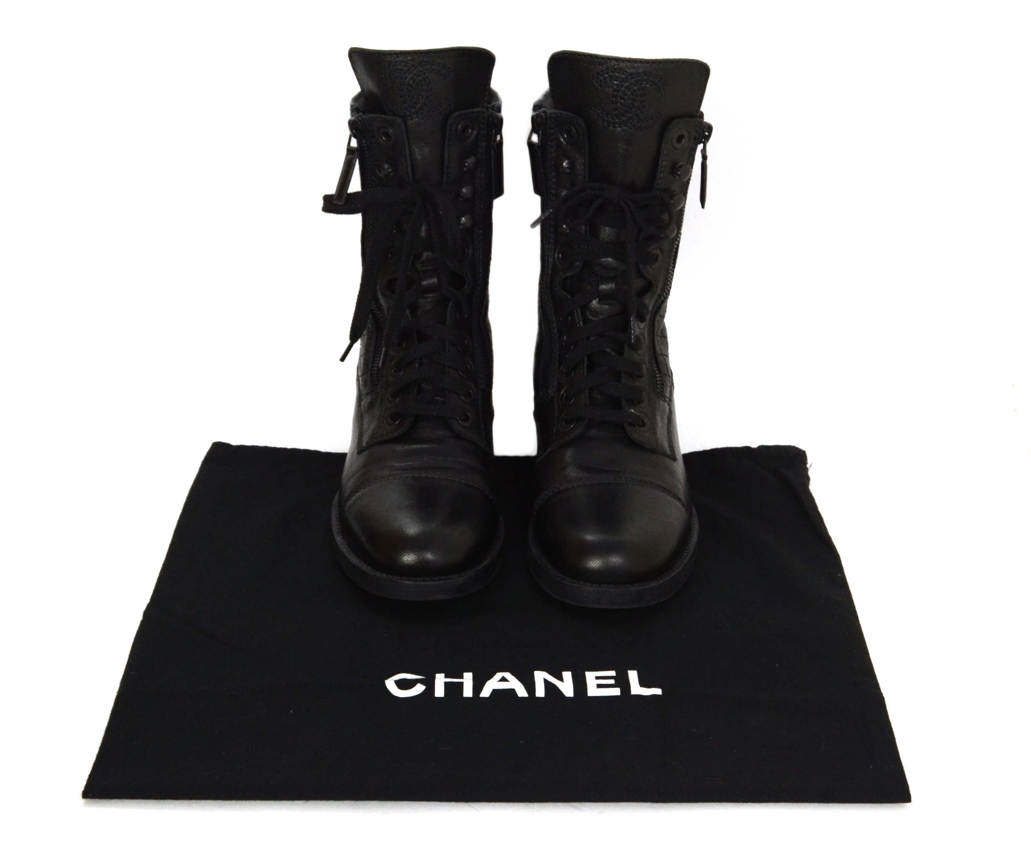 82395779e65 Chanel Black Leather Lace Up Combat Boots sz 39 at 1stdibs
