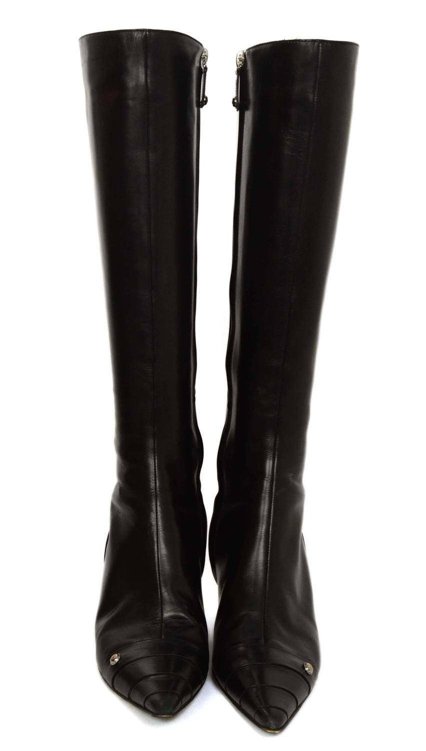chanel black leather kitten heel knee high boots sz 38 at