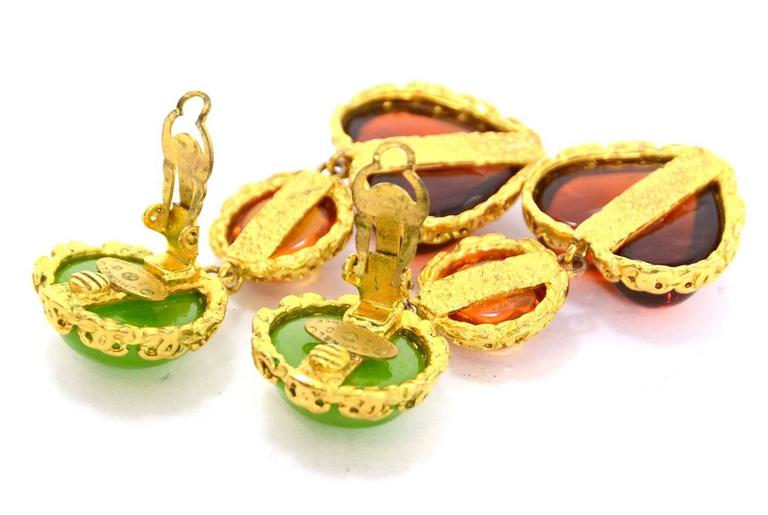 CHANEL Vintage '86 Green Orange Gripoix Clip On Earrings  2