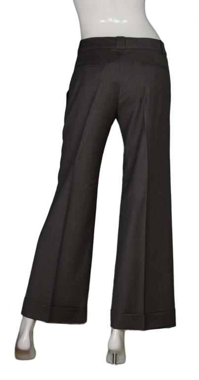 Chloe Grey Wool Wide Leg Pants sz 40 In Excellent Condition For Sale In New York, NY