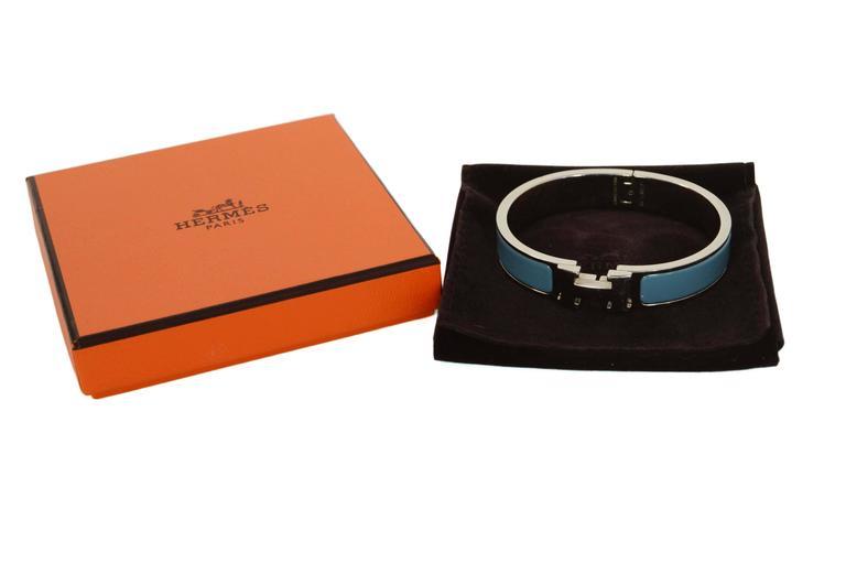Hermes Blue Jean Palladium Enamel Narrow Clic Clic Bracelet For Sale 3