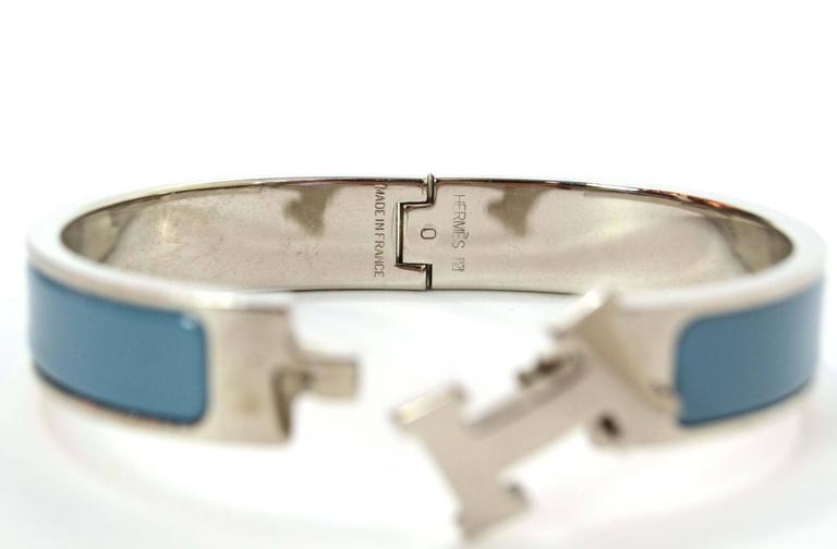 Hermes Blue Jean Palladium Enamel Narrow Clic Clic Bracelet For Sale 1