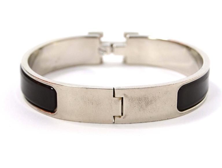 Hermes black palladium narrow clic clac bracelet at 1stdibs for Housse clic clac new york