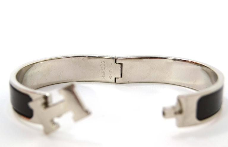 hermes black palladium narrow clic clac bracelet at 1stdibs