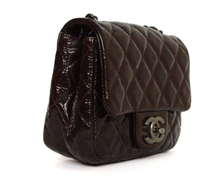 Chanel Brown Distressed Patent Leather Square Mini Flap Bag SHW