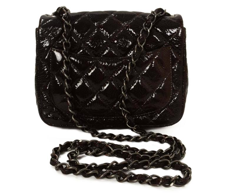 Black Chanel Brown Distressed Patent Leather Square Mini Flap Bag SHW For Sale
