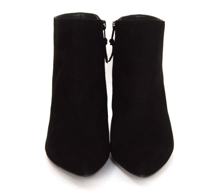 Stuart Weitzman Black Suede Carltone Booties sz 7.5 rt. $500 In Excellent Condition For Sale In New York, NY