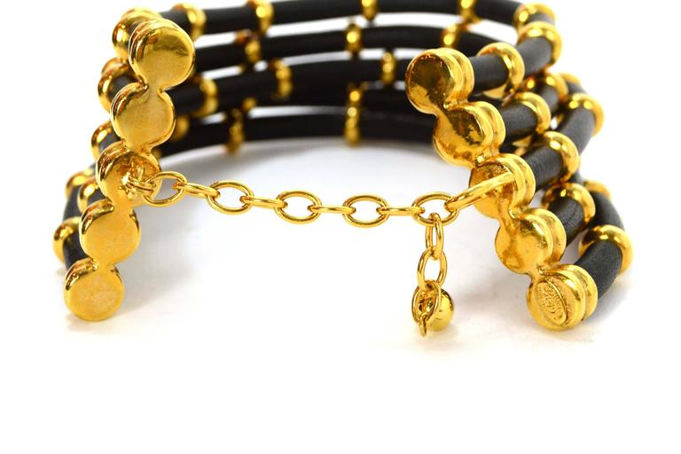 Chanel Rare Collectors Vintage '89 Gold & Leather Choker Necklace In Excellent Condition For Sale In New York, NY