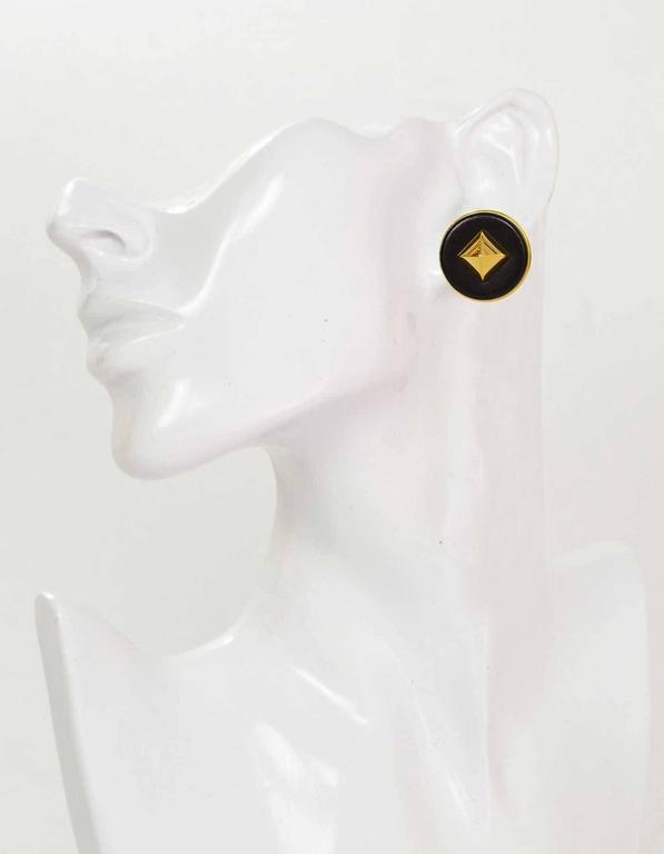 Hermes Black Leather & Gold Medor Clip On Earrings 4