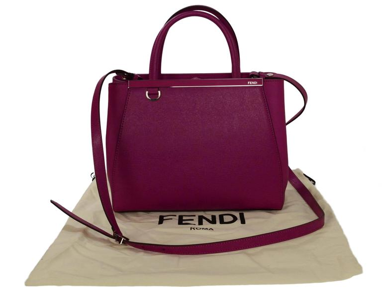 Fendi Magenta Pink 2Jours Petite Saffiano Shopper Tote Bag For Sale 4
