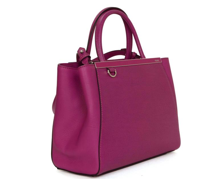 Fendi Magenta 2Jours Petite Saffiano Shopper Tote 