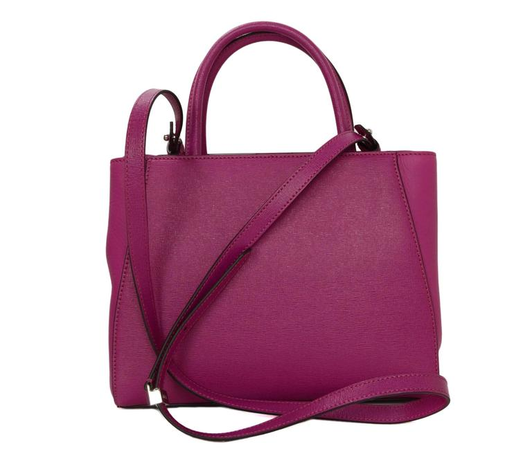 Purple Fendi Magenta Pink 2Jours Petite Saffiano Shopper Tote Bag For Sale