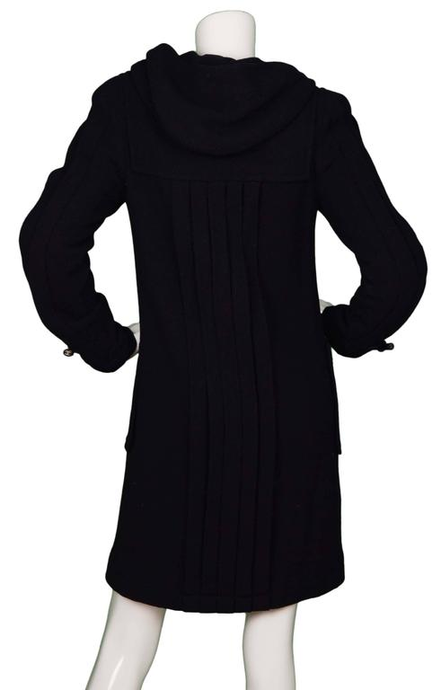 Black Chanel Navy Pleated Toggle Front Coat sz 38 For Sale