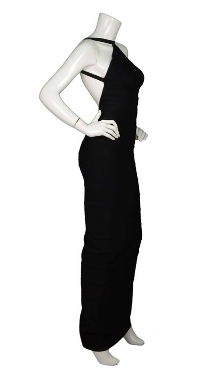 Herve Leger Black Bandage High Neck Dress 