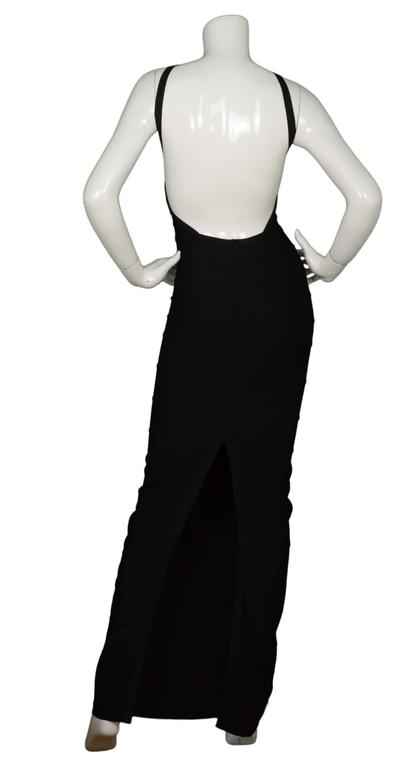 Herve Leger Black Bandage High Neck Halter Gown Dress sz M In Excellent Condition For Sale In New York, NY