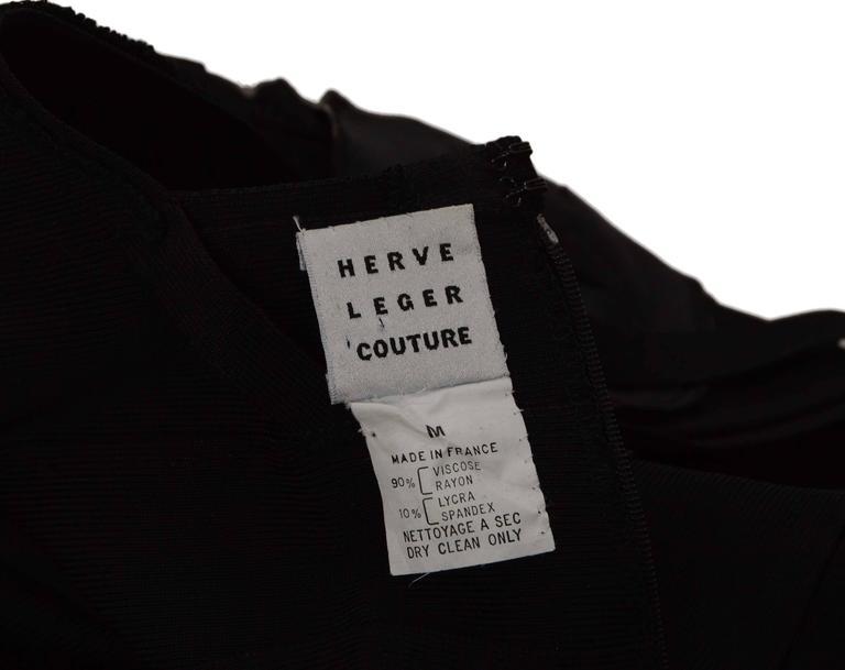 Herve Leger Black Bandage High Neck Halter Gown Dress sz M 4