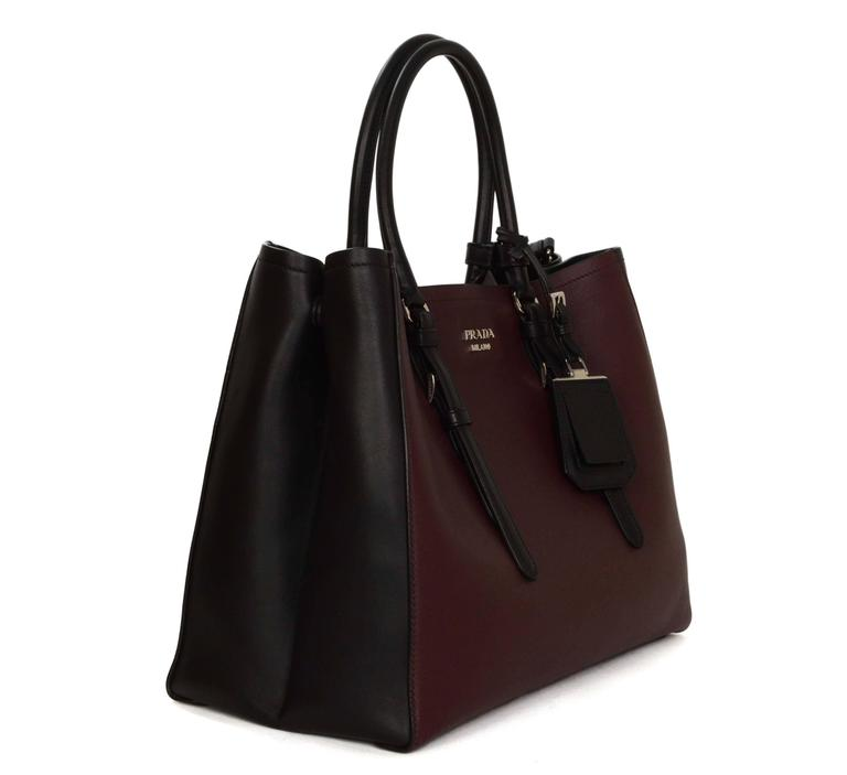 Prada '15 Black & Burgundy Calfskin City Double Tote SHW 2