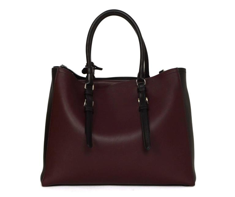 Prada '15 Black & Burgundy Calfskin City Double Tote SHW 3