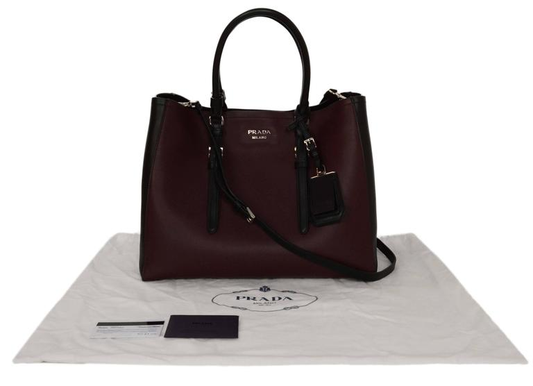 Prada '15 Black & Burgundy Calfskin City Double Tote SHW 8