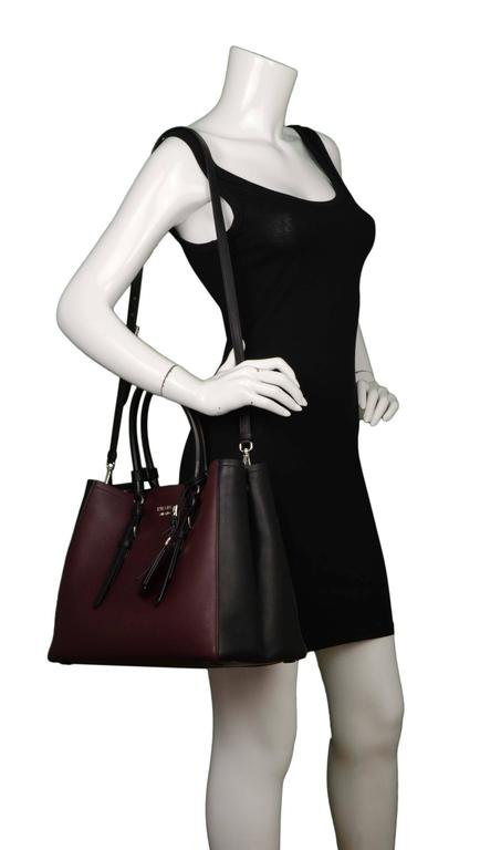 Prada '15 Black & Burgundy Calfskin City Double Tote SHW 9