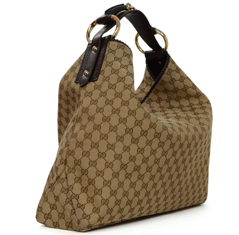 Gucci Tan Monogram Large Horsebit Hobo Bag at 1stdibs