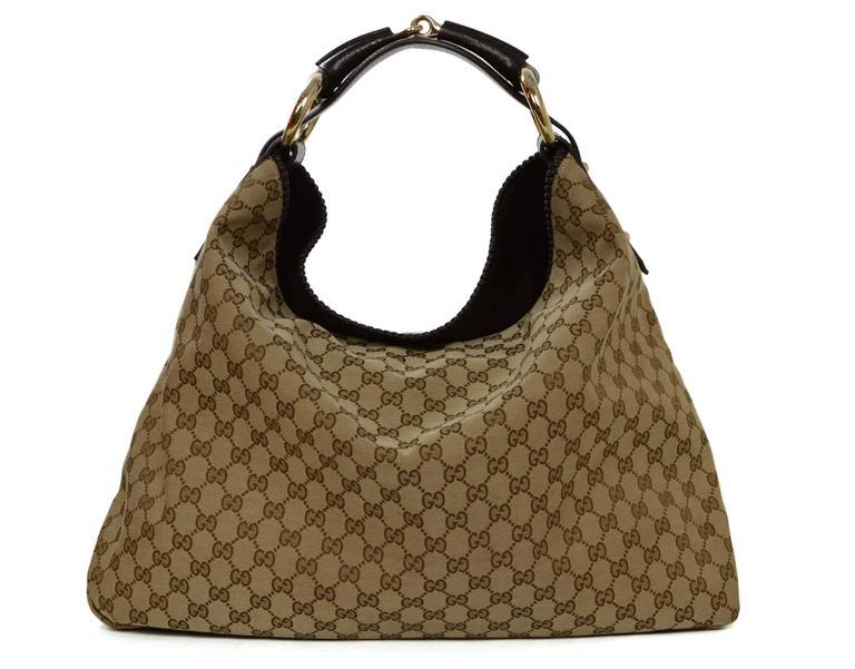 Gucci Tan Monogram Large Horsebit Hobo Bag at 1stdibs