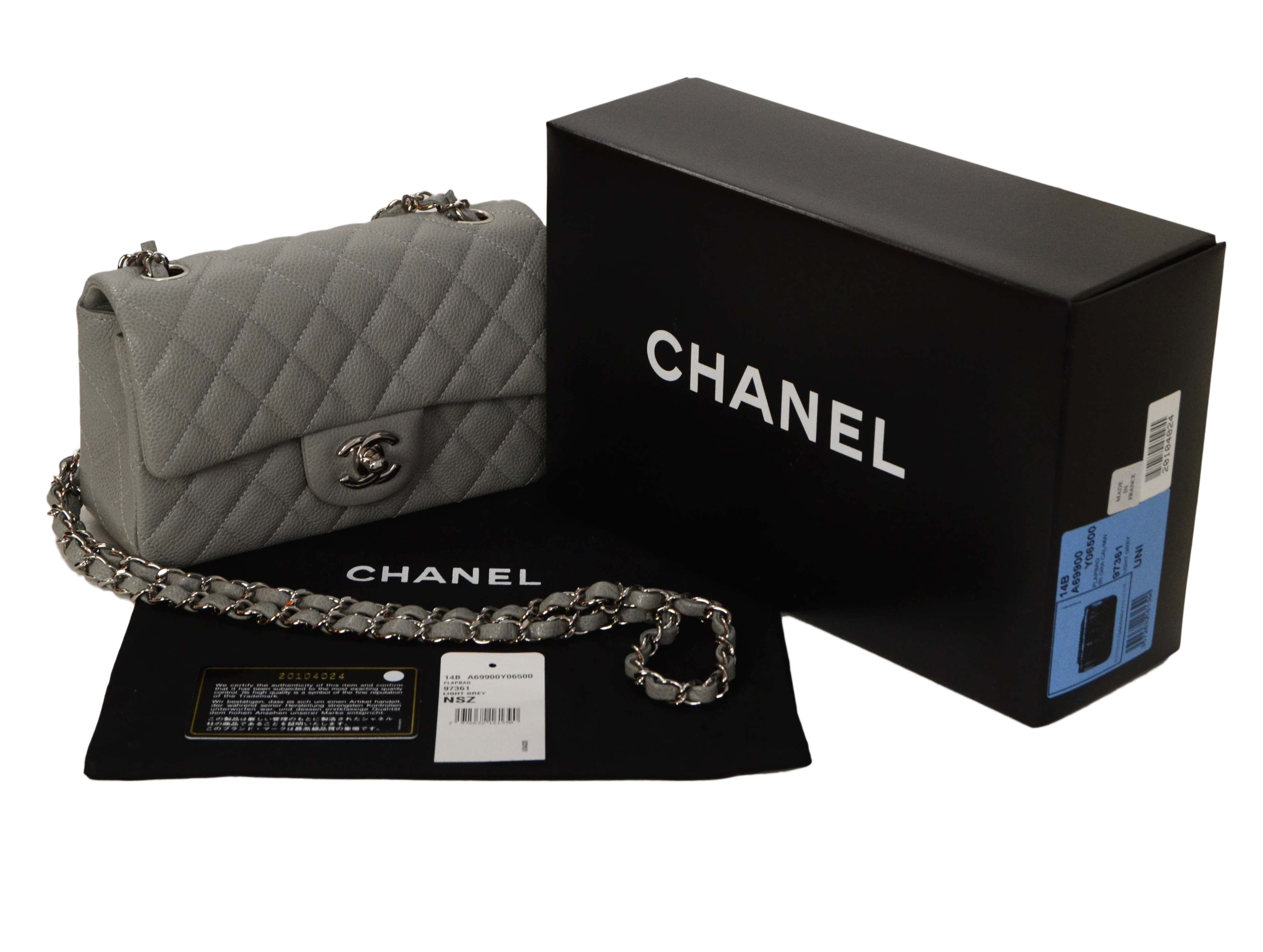e205d277b862 Chanel Grey Quilted Caviar Rectangle Mini Flap Bag SHW at 1stdibs