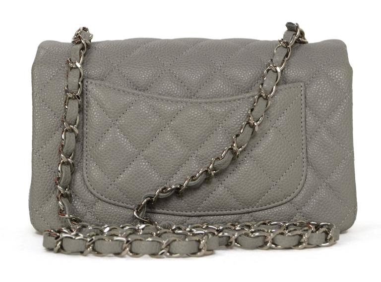 eab45d8bb068 Chanel Grey Quilted Caviar Rectangle Mini Flap Bag SHW In Excellent  Condition For Sale In New
