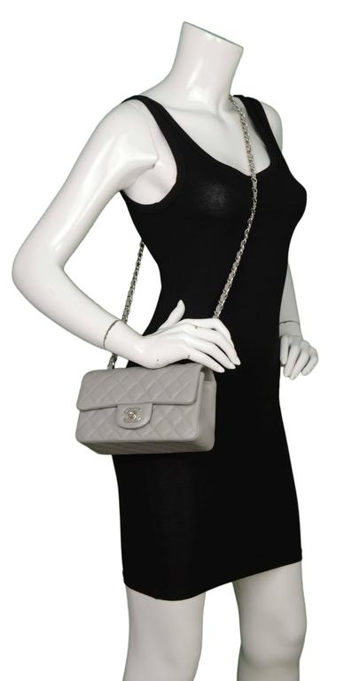 c1d14106dac0 Chanel Grey Quilted Caviar Rectangle Mini Flap Bag SHW For Sale 6