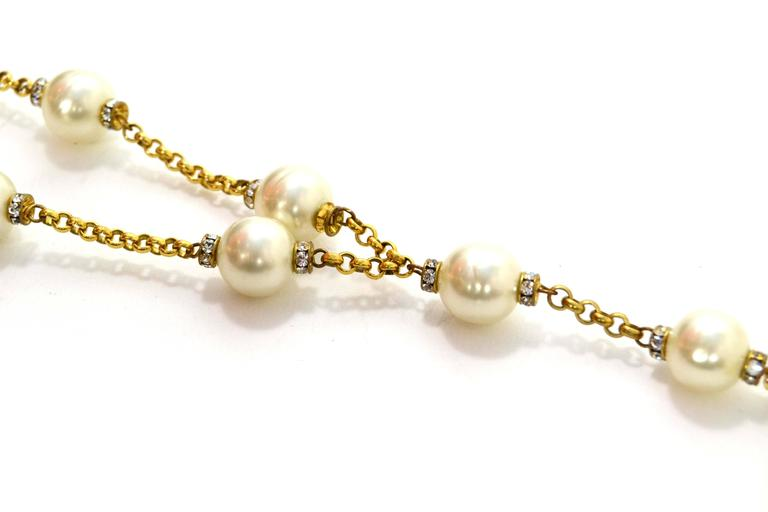 chanel vintage 90s pearl lariat necklace for sale at 1stdibs