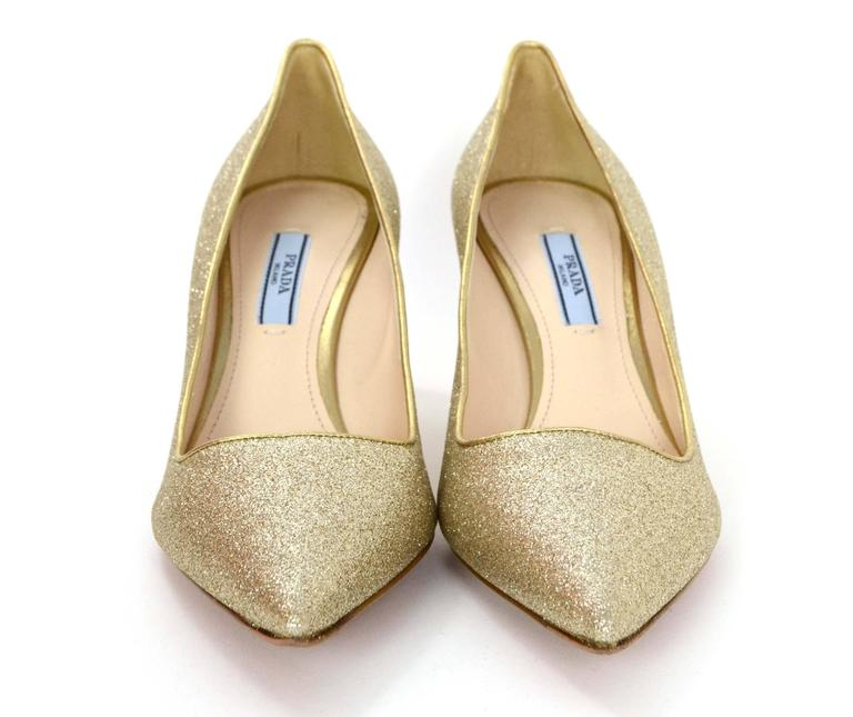 bdd2b43cf9b83 Prada Gold Glitter Kitten Heel Pumps sz 38.5 In Excellent Condition For  Sale In New York