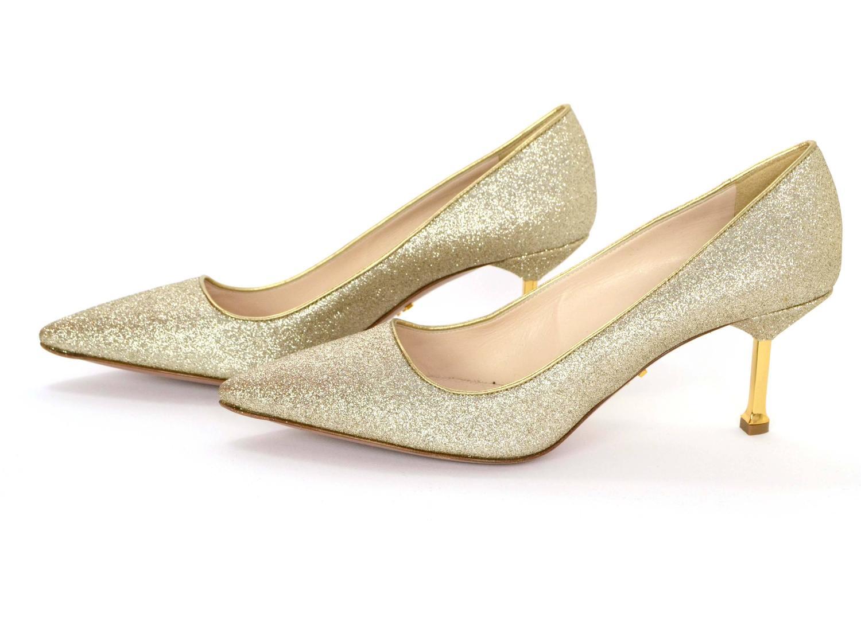 6caefa8e020a Prada Gold Glitter Kitten Heel Pumps sz 38.5 at 1stdibs
