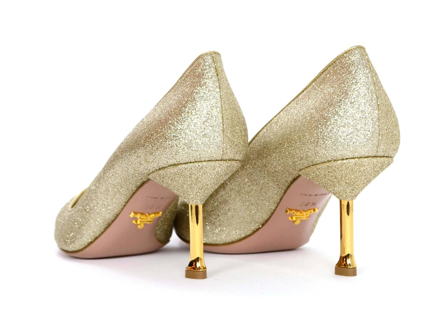 fe36cf3e92aa0 Prada Gold Glitter Kitten Heel Pumps sz 38.5 at 1stdibs