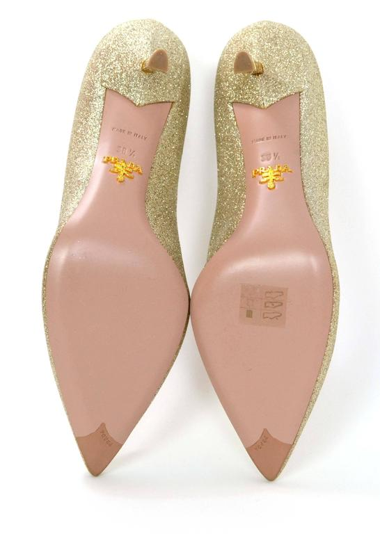 317e181c1e1a5 Prada Gold Glitter Kitten Heel Pumps sz 38.5 For Sale 3