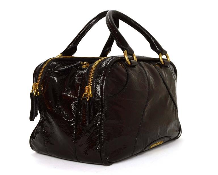 e1f04f8394f Miu Miu Brown Vinyl Bowler Bag Features optional crossbody strap Made In   Italy Color