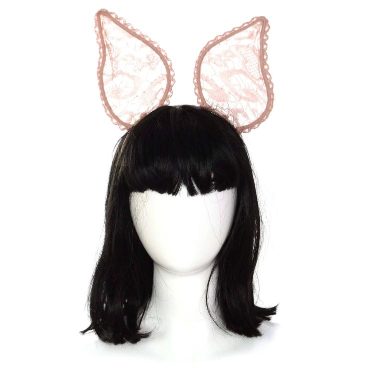 Maison Michel Nude Lace 'Heidi' Bunny Ear Headband rt. $455 2
