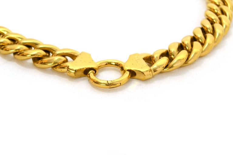 Celine Gold Curb Chain Link Choker Necklace sz M 3