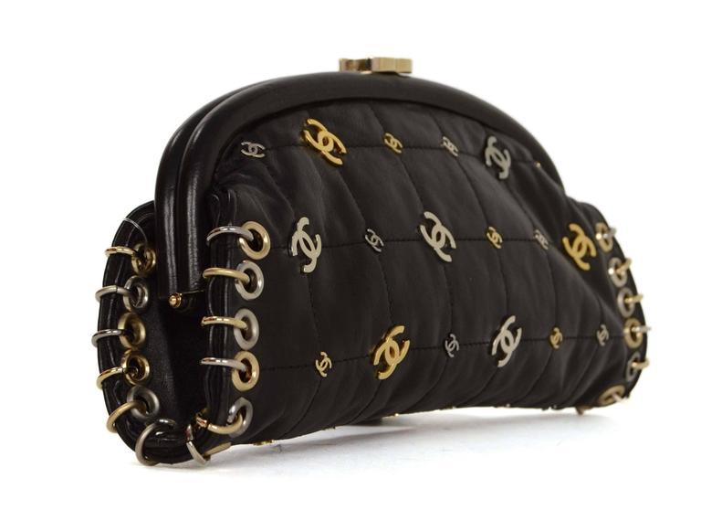 80e47cb4b0ea Chanel Black Lambskin CC Punk Timeless Clutch Bag Features gold, silver,  and ruthenium cc's