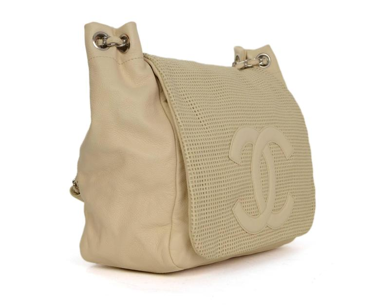 8c300003464a Chanel Cream Caviar Leather Perforated CC Accordion Flap Bag Made In: Italy  Year of Production