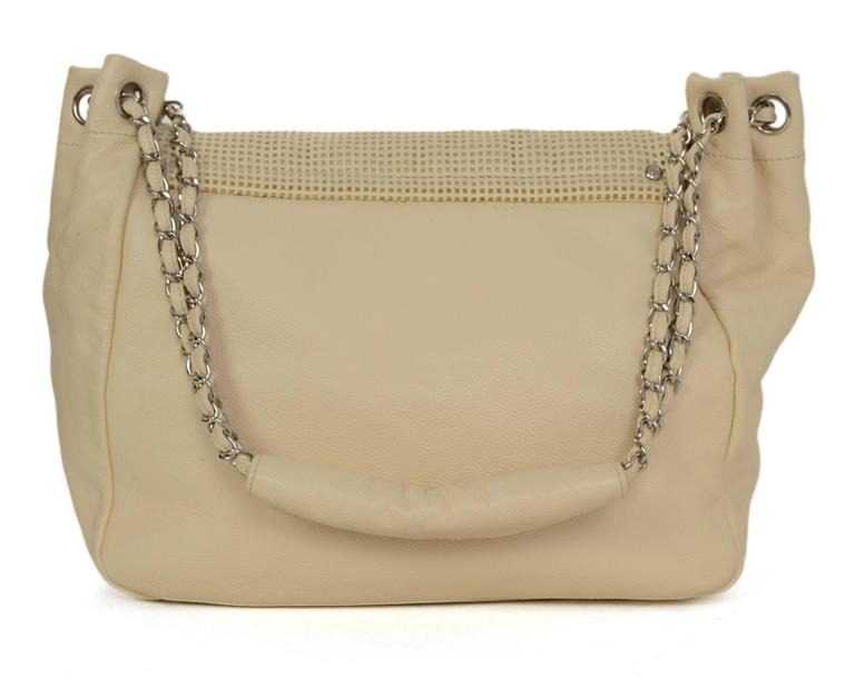 75e90b1d07b5 Chanel Cream Caviar Leather Perforated CC Accordian Flap Bag In Excellent  Condition For Sale In New