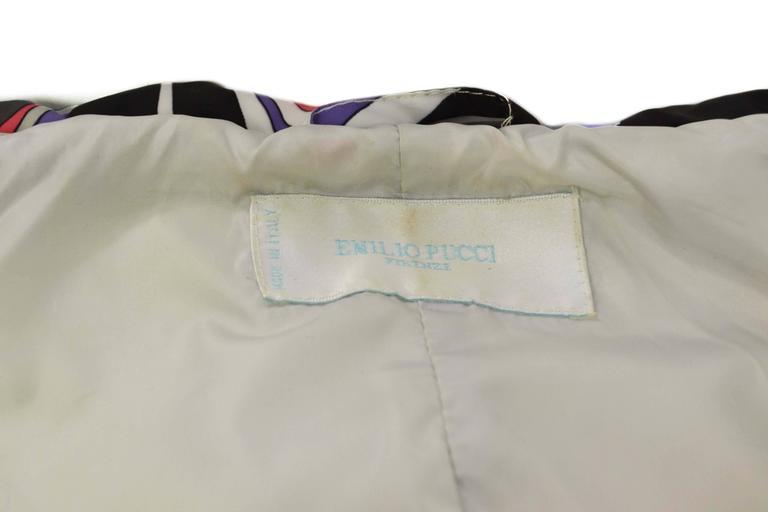 Women's Emilio Pucci Multi-Colored Geometric Down Coat sz 38 For Sale