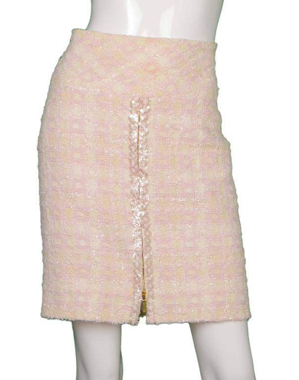 Chanel Claudia Schiffer Vintage '95 Beige & Pink Tweed Skirt Suit sz 46 5