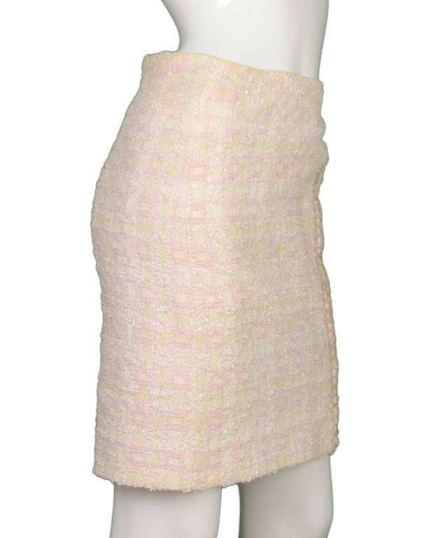 Chanel Claudia Schiffer Vintage '95 Beige & Pink Tweed Skirt Suit sz 46 6