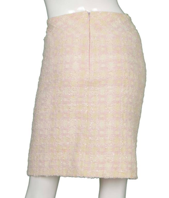 Chanel Claudia Schiffer Vintage '95 Beige & Pink Tweed Skirt Suit sz 46 7