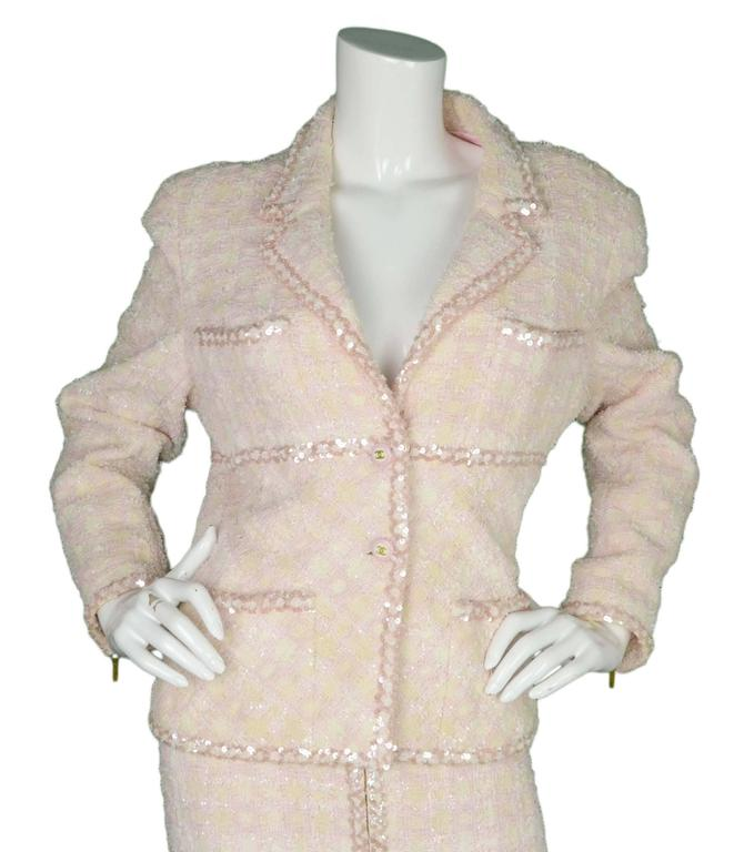 Chanel Vintage '95 Beige & Pink Tweed Skirt Suit 